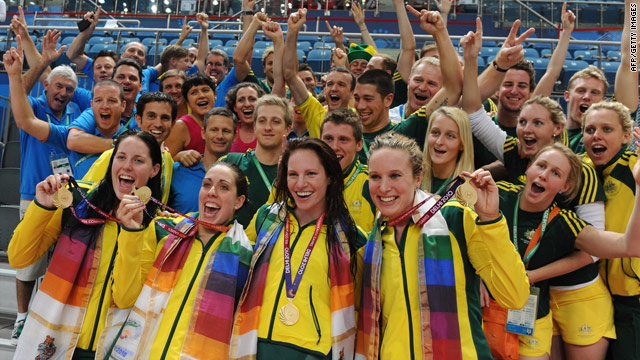 Australia's 4x100m freestyle team of, from left, Alicia Coutts, Felicity Galvez, Emily Seebohm and Marieke Guehrer celebrate.