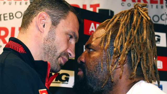 "Vitali Klitschko, left, will defend his WBC title for the fifth time against Shannon ""The Cannon"" Briggs this weekend."