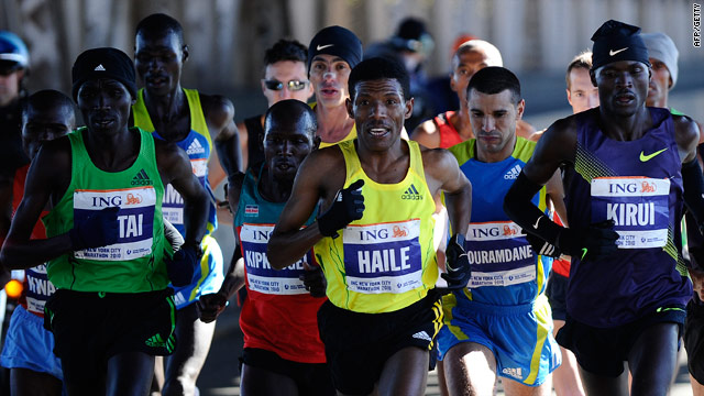 Haile Gebrselassie runs in the leading pack in New York before pulling out and announcing his retirement.