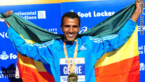 Ethiopian Gebre Gebremarian won the 2010 New York City Marathon with a time of 2:08:14.