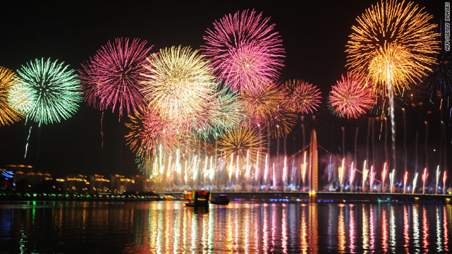 Thousands of residents turned up to watch as the firework display lit up the sky above the Pearl River in Guangzhou.