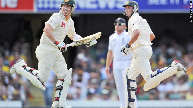 Michael Hussey (right) and Brad Haddin both scored centuries to put Australia in control of the first Test match in Brisbane.