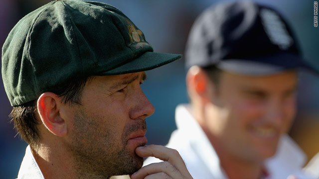 Australian captain Ricky Ponting, left, and his English counterpart show their feelings after the Test ends in a draw.