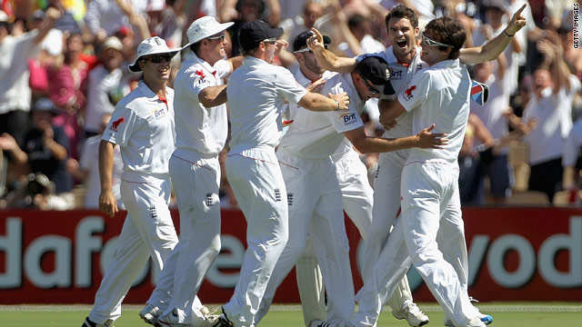 James Anderson (second right) celebrates taking one of his wickets on the opening day of the second Test.