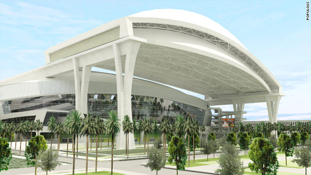 A digital image of how the Florida Marlins' new stadium will look when construction is finished in spring 2012.