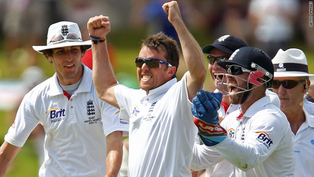 Graeme Swann celebrates after clean bowling Peter Siddle to give England a resounding victory in Adelaide.