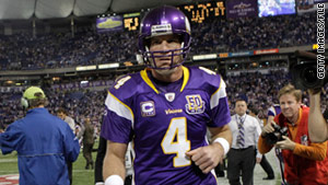 Favre was injured in a hit during a game December 5 with the Buffalo Bills.