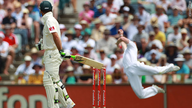 Australia captain Ricky Ponting made just 12 runs before being superbly caught by England fielder Paul Collingwood.