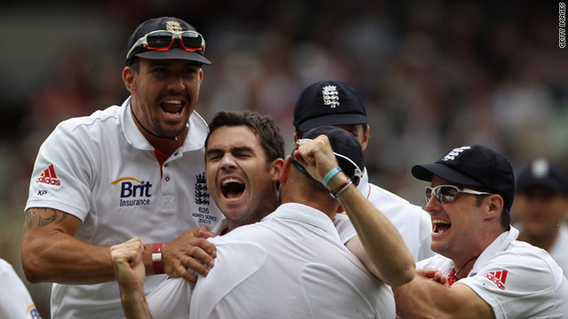 England players celebrate Jimmy Anderson's dismissal of Mike Hussey.