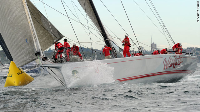 "Wild Oats has the lead as it seeks a fifth victory in the annual ""Bluewater Classic,"" which started in Sydney Harbor on Sunday."