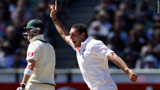 Tim Bresnan celebrates after dismissing key Australia batsman Mike Hussey for no score at the Melbourne Cricket Ground.