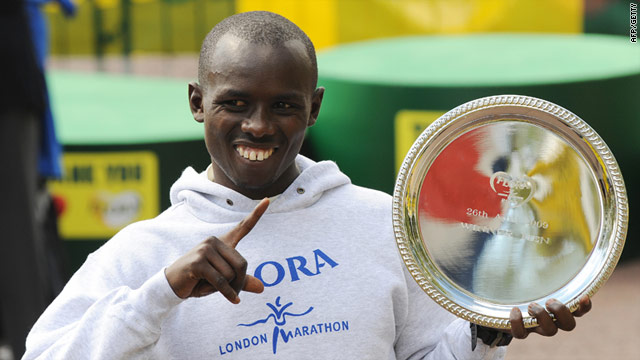 Sammy Wanjiru celebrates his success in the 2009 London marathon.