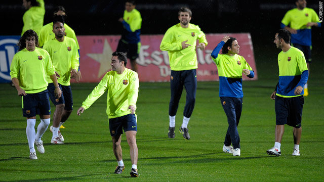 Barcelona's squad prepare for their Spanish league match against Villarreal.