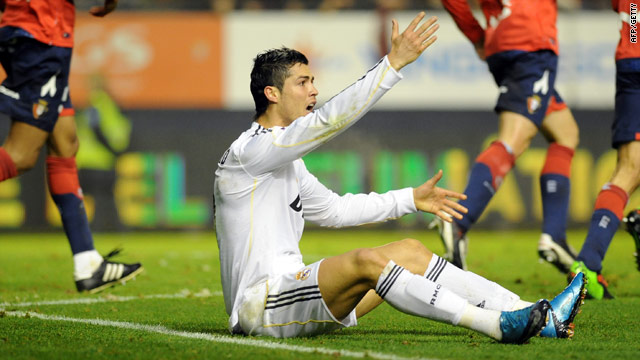 Real's Cristiano Ronaldo appeals in vain for a penalty in the goalless draw at Osasuna.