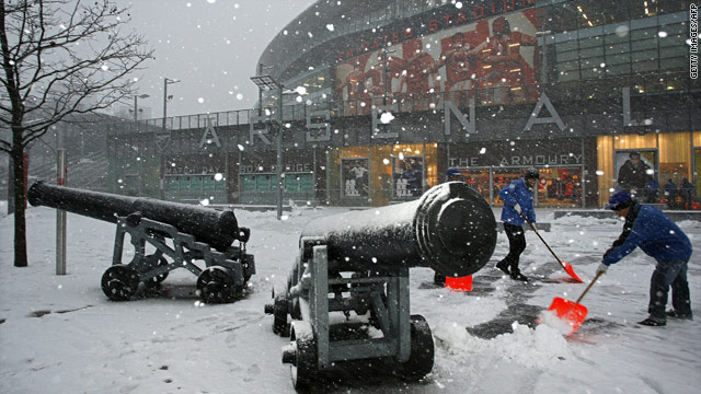 Arsenal's English Premier League match against Bolton has been postponed because of heavy snow.