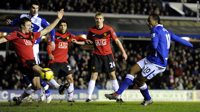 Birmingham striker Cameron Jerome scores his fifth goal of the season at home to Manchester United.