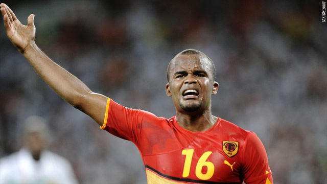 Flavio celebrates his second goal for Angola before the remarkable Mali fight back.