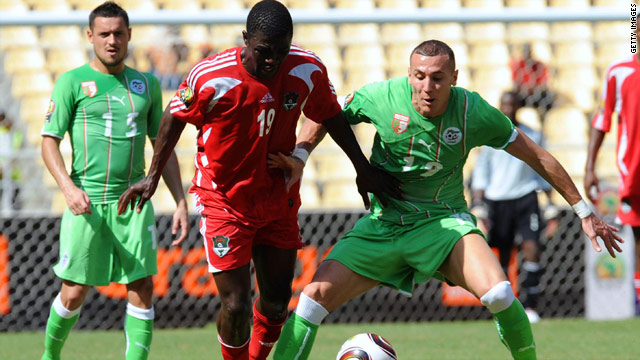 Dave Banda (center) was among the goals for Malawi in their shock 3-0 victory over Algeria.