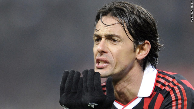 Veteran striker Fillippo Inzaghi opened the scoring for AC Milan in their 2-1 victory over minnows Novara.