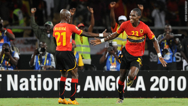 Angola striker Manucho celebrates with Mabina after scoring the second goal in his side's 2-0 win over Malawi.