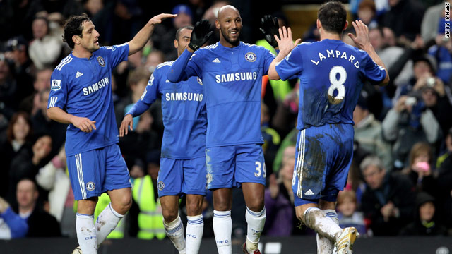 Frank Lampard, far right, congratulates fellow goalscorer Nicolas Anelka, center, during Chelsea's 7-2 romp.