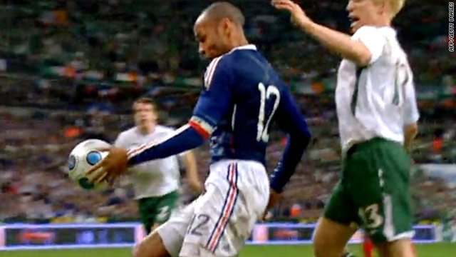 Henry's handball resulted in France's controversial winning goal against the Republic of Ireland in November.