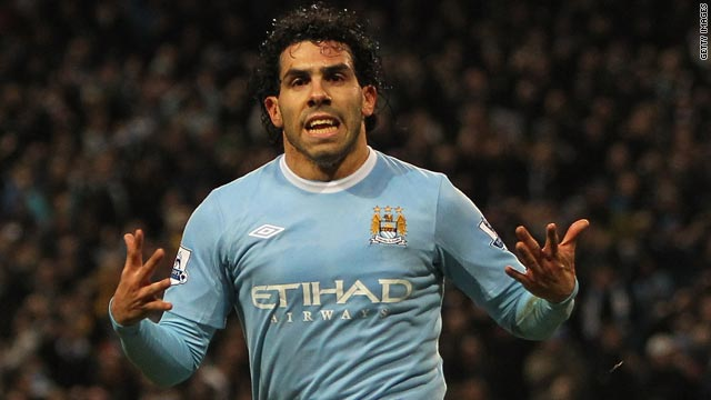 Carlos Tevez ran towards the Manchester United bench after putting City ahead in the League Cup semifinal.