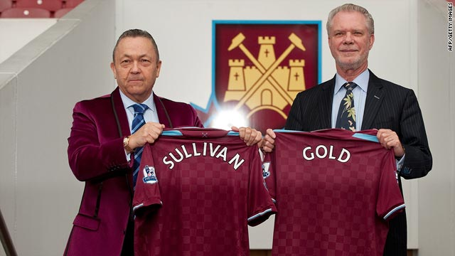 David Sullivan, left, and David Gold have bought a controlling stake in cash-strapped English club West Ham.
