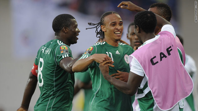 Nigeria's Osaze Odemwingie celebrates with his teammates after scoring the second of his two goals against Mozambique.