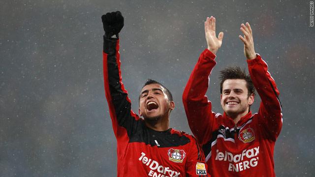 Arturo Vidal and Tranquillo Barnetta celebrate the Bayer Leverkusen goal romp.