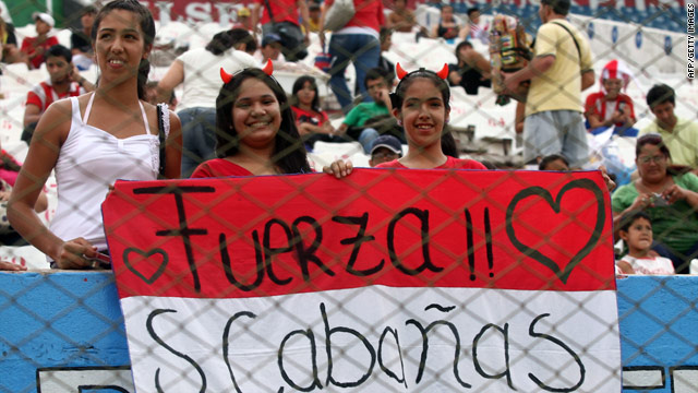 Fans show their support for striker Salvador Cabanas after he was shot in the head in Mexico City on Monday.