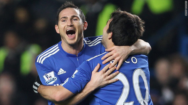 Frank Lampard (left) celebrates his opening goal in Chelsea's comfortable 3-0 victory over Birmingham.