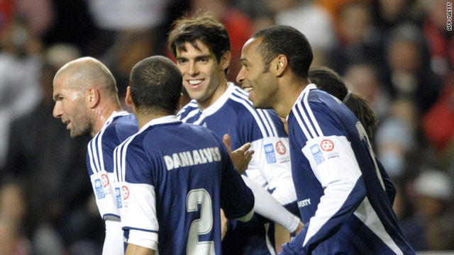 Star cast. Zidane, Dani Alves, Kaka and Henry share a moment in the charity match for Haiti.