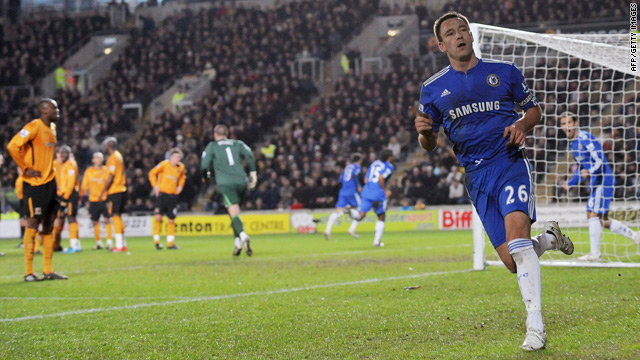 John Terry gestures to the crowd after Didier Drogba scored Chelsea's equalizer against Hull.