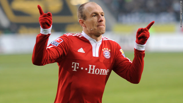 Dutch forward Arjen Robben celebrates after putting Bayern Munich ahead against champions Wolfsburg.