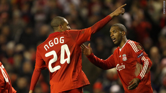 Liverpool striker David Ngog celebrate his late winner at Anfield in their 1-0 first leg victory.