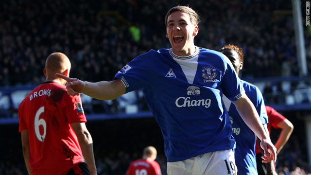 Everton's Dan Gosling celebrates his goal against Manchester United.