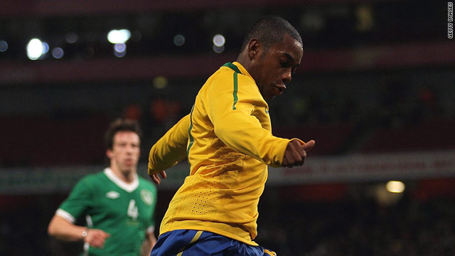 Robinho prepares to cross before Keith Andrews scored an own goal to put Brazil ahead at the Emirates.