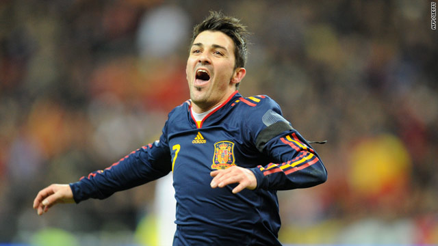David Villa put Spain ahead at the Stade de France after a clever passing movement.