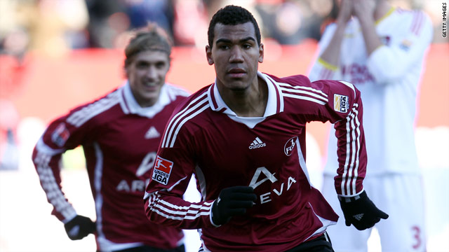 Eric Maxim Choupo-Moting scored twice as Nuremberg upset title chasing Bayer Leverkusen.