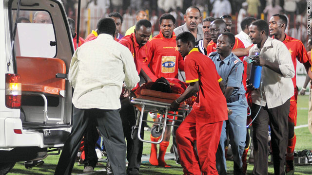 Nigerian striker Endurance Idahor is helped into an ambulance after collapsing during a Sudanese league match.