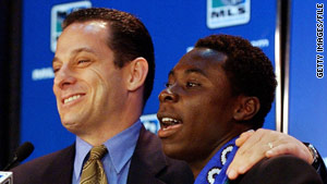 Agent Richard Motzkin, in 2003, announces a multiyear MLS deal for client Freddy Adu, then 14.