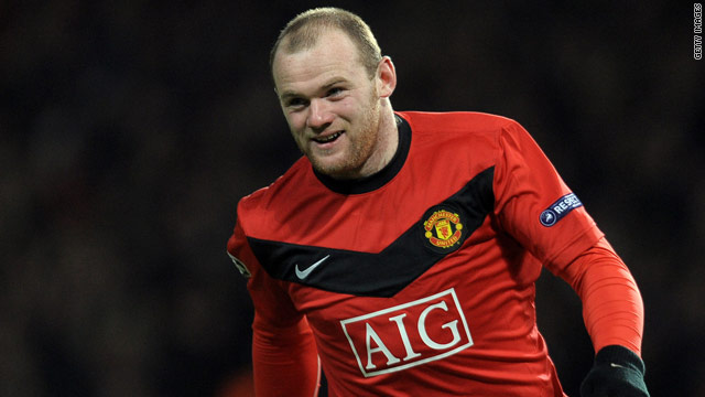 Wayne Rooney celebrates his opening goal as Manchester United cruised into the Champions League quarterfinals.