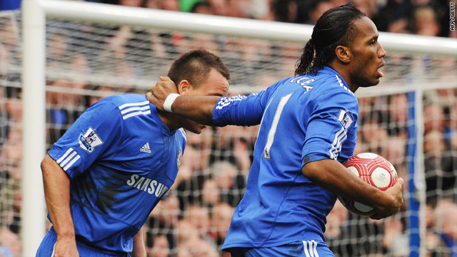 Didier Drogba (right) and John Terry celebrate the Ivorian's goal in the 4-1 win over West Ham.