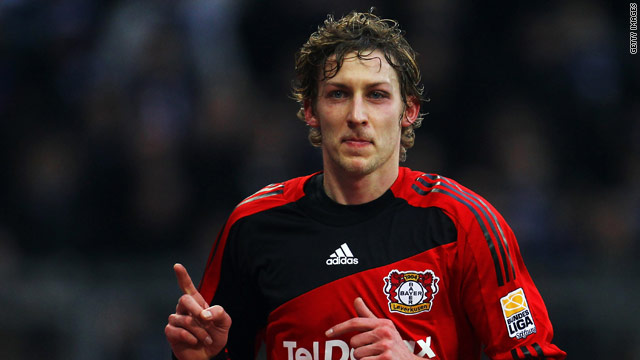 Stefan Kiessling celebrates the first of his two goals in Leverkusen's 4-2 victory over Hamburg.