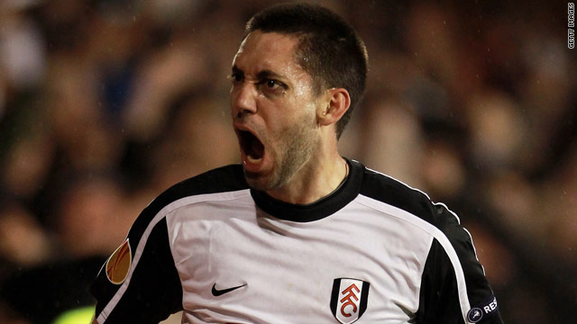 Fulham and United States midfielder Clint Dempsey celebrates his winning goal against Juventus.