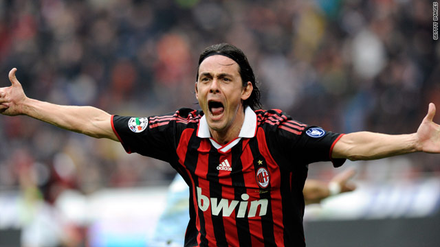 Inzaghi celebrates his equalizer for AC Milan in the San Siro but the game ended in a 1-1 draw.