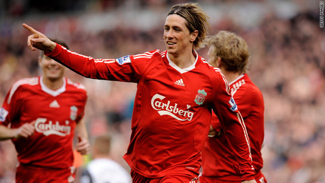 Fernando Torres celebrates his opening goal in Liverpool's 3-0 victory over Sunderland.
