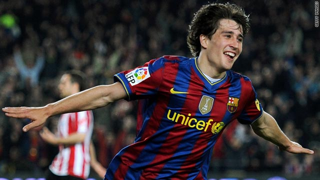 Bojan Krkic wheels away in celebration after scoring Barcelona's second goal against Bilbao.