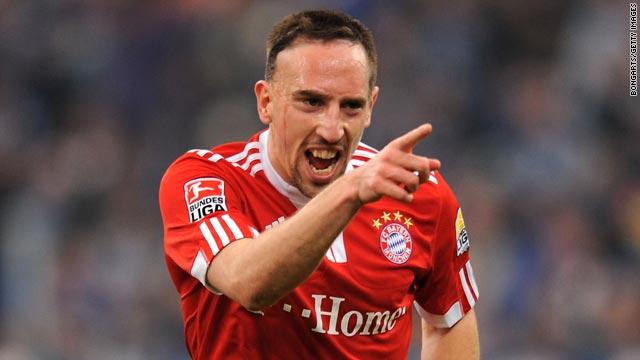 France playmaker Franck Ribery celebrates after scoring Bayern Munich's opening goal at Schalke.